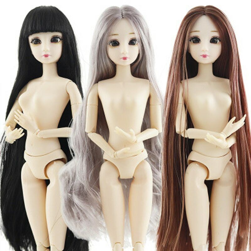 """1:6 Dolls Accessories Doll Heads For 11.5"""" Doll Natural Long Hair WIG Head Toys"""