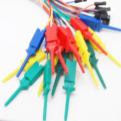 10pcs 28cm Test Clip Hooks Mini Grabber Jumper Lead Probes For Logic Analyser