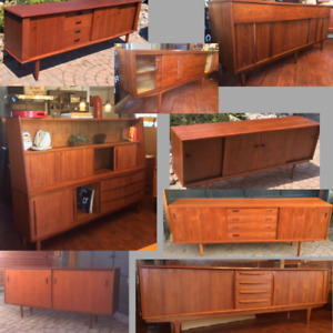 REFINISHED MCM Teak Walnut Sideboards TV Media Consoles Displays