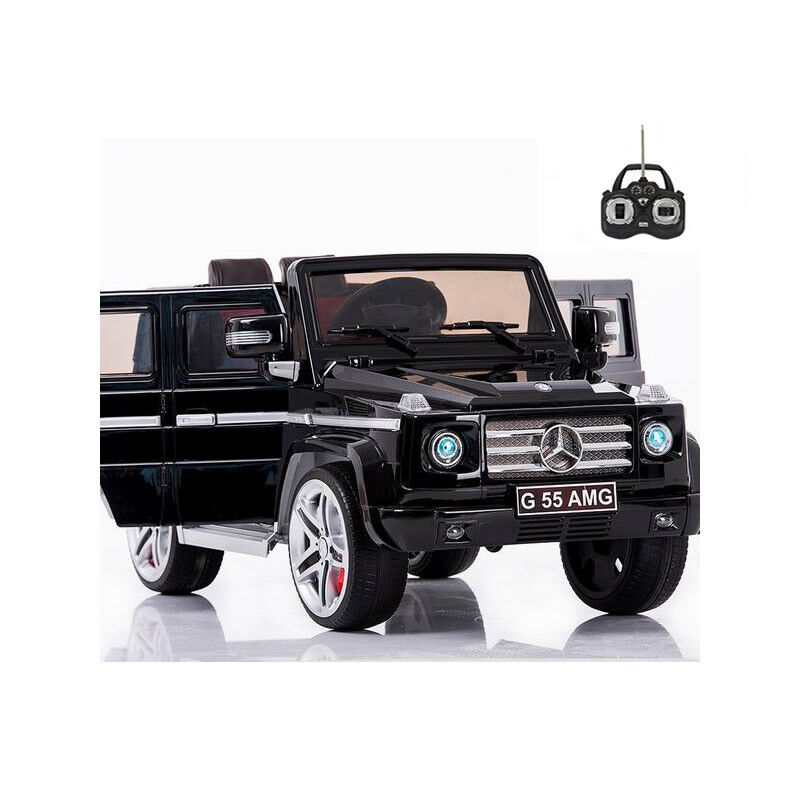 Licensed Mercedes G55 12v Electric Ride on Jeep with Remote - Black - Openable Doors