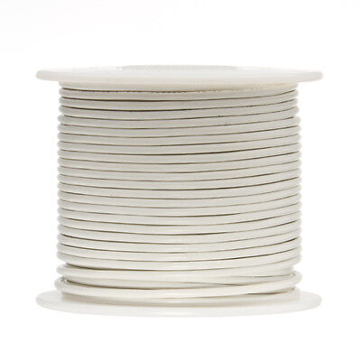 """18 AWG Gauge Solid Hook Up Wire White 100 ft 0.0403"""" UL1007 300 Volts"""