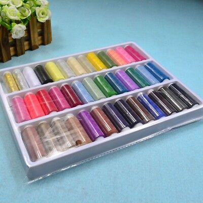39PCS 200 Yard Mixed Colors Polyester Sewing Thread Machine Hand Spool GP3