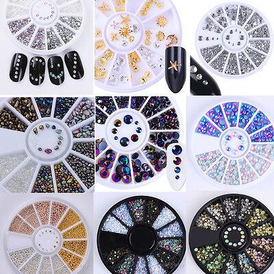 3D Nail Art Rhinestones Glitters Beads Acrylic Tips Decorations Wheels Manicure