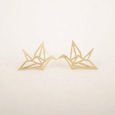Lovely Origami Crane Stud Earrings Cute Hollowed Ear Studs Chic Bird Earrings BE