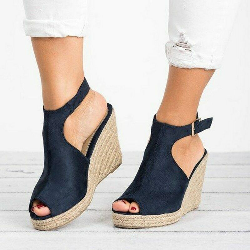 Women's Wedge Heel Navy Blue Peep Toe Platform Espadrille Sa