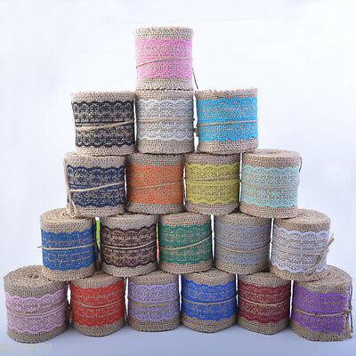 2M Jute Burlap With Lace Trim Edge Natural Hessian Ribbon Wedding Rustic Vintage - Burlap Ribbon With Lace