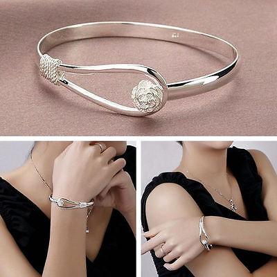 Hot Women Fashion 925 Sterling Silver Plated Charm Cute Flower Bracelet Bangle