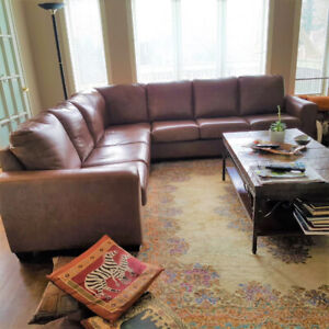 """The Chestfield Shop"" All Leather Sectional, Delivery Available"