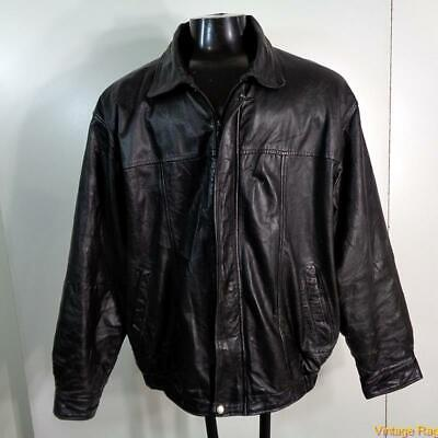 BOSTON OUTFITTERS Soft LEATHER JACKET Mens Size XL Black insulated zippered