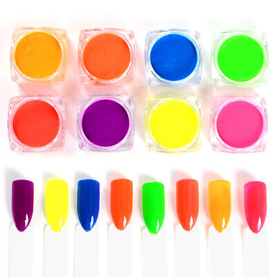 8 Colors/set Neon Pigment Powder Nail Glitter Fluorescence Nail Powder Decor - Neon Colors Decorations