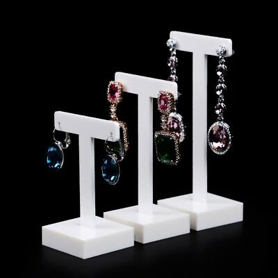 White Acrylic Earring Display Holder With T-shaped Jewelry Displays Stand