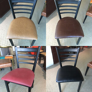 LADDER BACK CURVED METAL CHAIRS