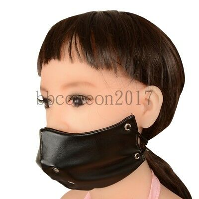 PU-Leather Half Face Mask Mouth Gag Harness Restraint Fetish Slave Toy Leather Half Harness