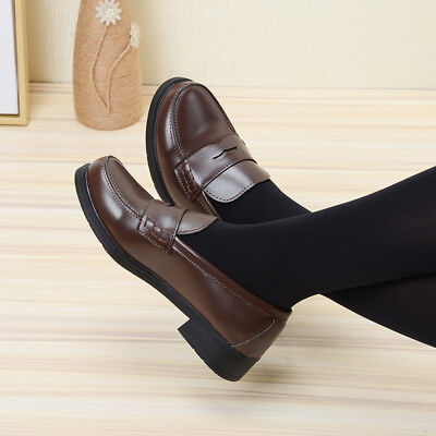 Japanese School Uniform Low Flat Heel Student Shoes Leather Maid Lolita Cosplay (Maid Shoes)