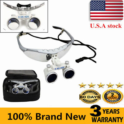 Dental Surgical Binocular Loupes Optical Lens 3.5x 420mm For Head Light Usa