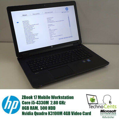 HP ZBook 17 CORE i5-4330M 2.8GHz 8GB 500GB NVIDIA Quadro K3100M