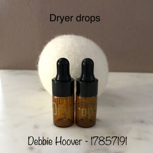 Wool dryer balls and essential oil dropper bottles
