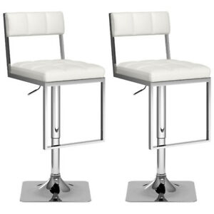 Contemporary Leatherette Bar Height Stool - Set of 2 - White New