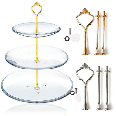 2/3 Tier Cake Cupcake Plate Stand Handle Hardware Fitting Holder Silver - 3 Tier Cupcake Stand