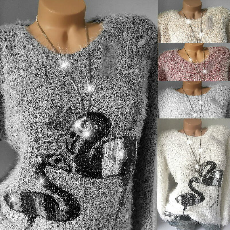Flauschiger Pailletten Flamingo Pullover Strickpullover Kuschel Pulli* 38 40 42