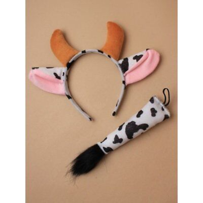 COW  Ears and Tail Set Headband Fancy Dress Costume Accessory ONE SIZE FITS ALL - Cow Costume Ears