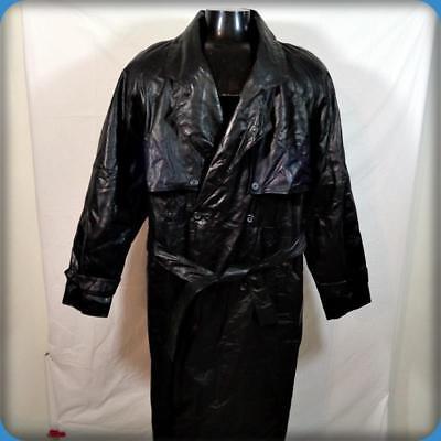 J. WALDEN Vtg Trench Coat Long Leather Spy Jacket Mens Size L 44 black belted
