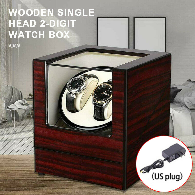 US Dual Automatic Watch Winder Wood Display Case Box High-Gr