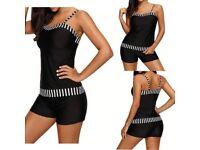 Women Stripe Tankini Set With Boy Shorts Beach Swimming Costume Swimsuit