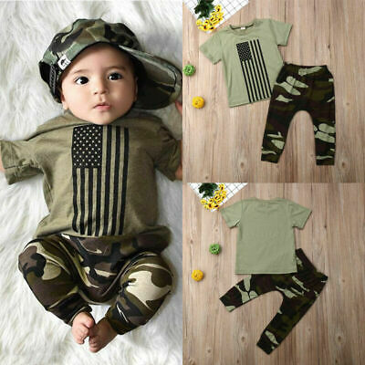 2PCS Baby Boy Clothes Outfit Set Top T-shirt Camo Long Pants Outfits Sunsuit