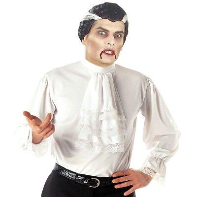 Dracula Vampir Rüschen Hemd mit Jabot weiß historisch Herren Kostüm M/L-XL (Dracula Kostüm)
