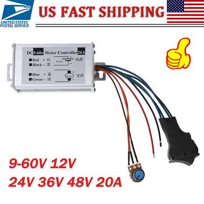 Reversible Dc 9-60v 12v 24v 36v 48v 60v 20a Pwm Dc Motor Driver Speed Controller