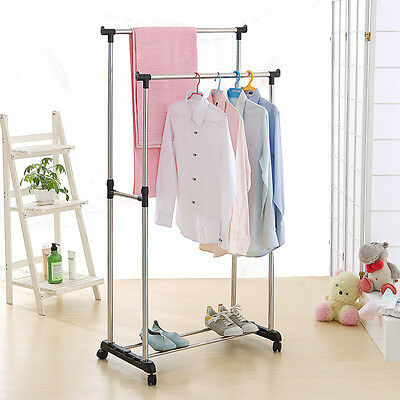 Rolling Clothes Rack Singledouble Rail Hanging Garment Bar Display Adjustable