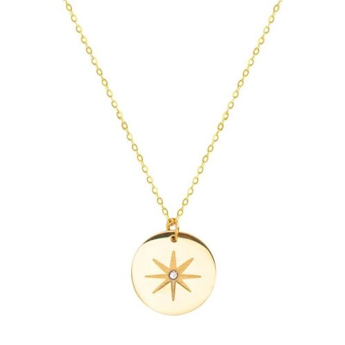 Gold Polaris North Star Starburst Disc Coin Circle Pendant Necklace N21-1 Fashion Jewelry