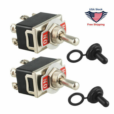 2pcs 6-pin Metal Copper Dpdt On-on Toggle Switch Ac15a250v W Waterproof Boot