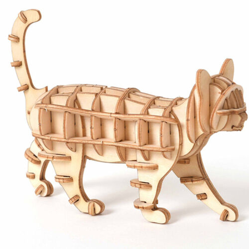 Animal DIY Cat Model Kits 3D Wooden Puzzle Assembly Toy for