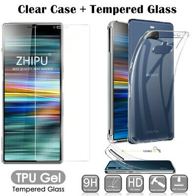 Clear TPU Gel Case Cover + Tempered Glass For For Sony Xperia 5 L3 10 1