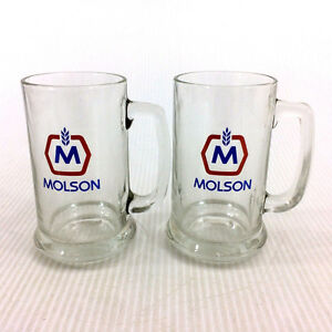 Set 2 Molson Beer Mugs Clear Glass Pint Size Vintage 70s CDN
