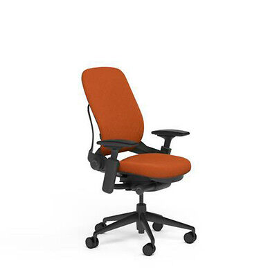 New Steelcase Adjustable Leap Desk Chair Buzz2 Pumpkin Fabric Seat - Black Frame
