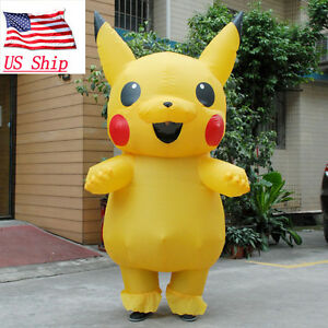 US SHIP Inflatable Pokemon Pikachu Adult  Mascot Party Cosplay Costume Outfit