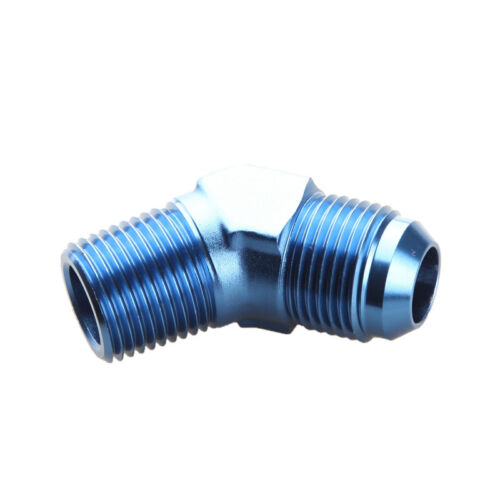 """10AN -10AN AN10 To 1/2"""" NPT 45 Degree Male Fitting Adapter Blue"""