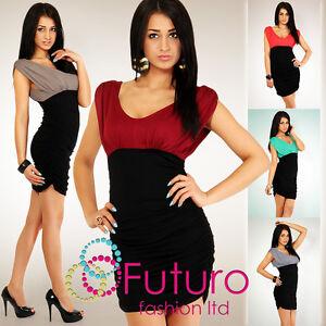 Stunning-Bodycon-Mini-Dress-Tunic-Top-Sides-Shirred-V-Neck-Size-8-10-12-5008