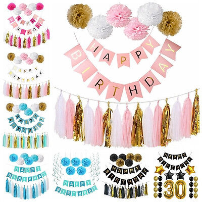 Happy Birthday Bunting Paper Banner Hanging Garland String Flag Party Decoration](Party Flag Banner)