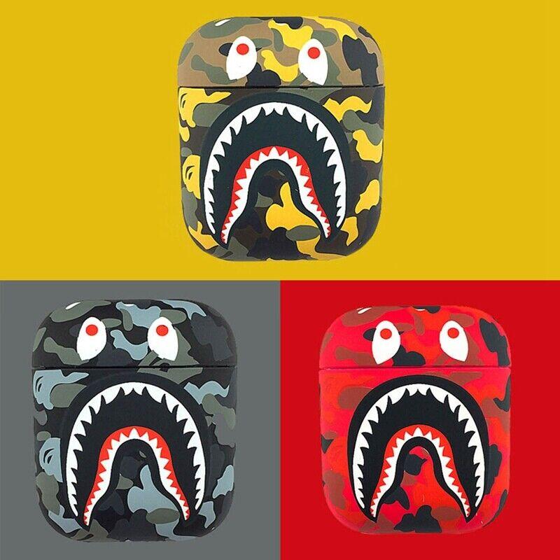 For Apple Airpods 1/2 Camo Bape Camouflage Shark Design Sili