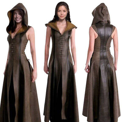 Hooded Renaissance Dress (Medieval Renaissance Women Lace up Long Dress Sleeveless Hooded Dress)