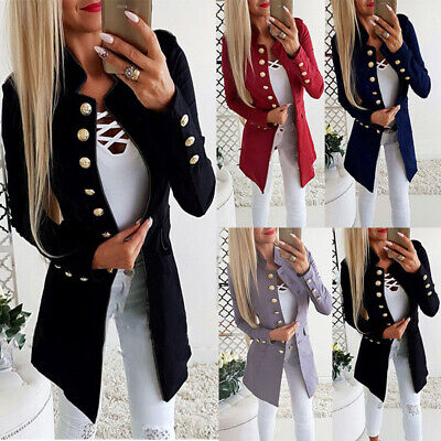 Womens Collar Suit Thin Jacket Coat Ladies Double Breasted Lapel Blazer Outwear