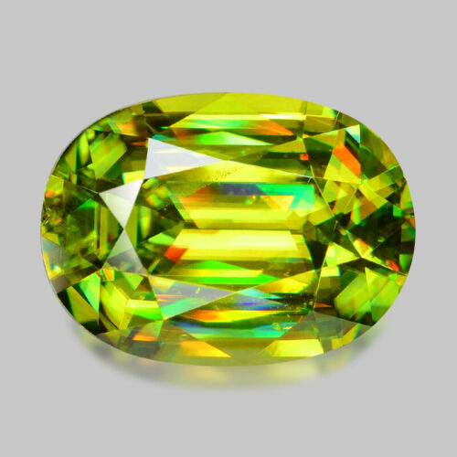 3.68cts MASTER OVAL CUT NATURAL CHARTREUSE GREEN MADAGASCAR SPHENE WATCH VIDEO