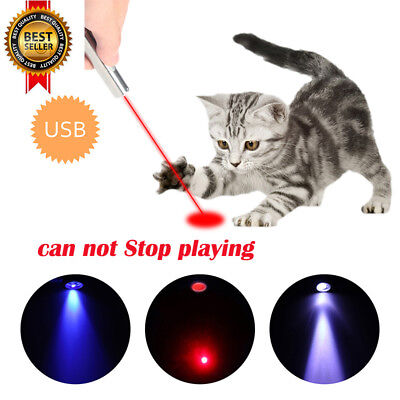 USB Rechargeable Cat Interactive Toy Laser Pointer Led Flashlight UV Torch Pen