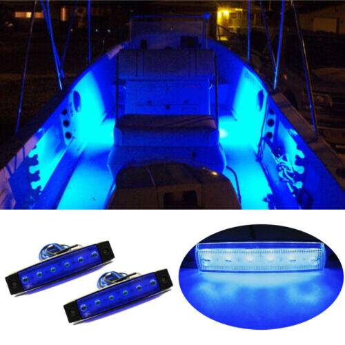 Marine Led Light Courtesy & Utility Strip for Boats 12 Volts Blue(Pair of 2)
