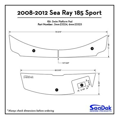 2008-12 Sea Ray 185 Sport - SeaDek Swim Platform Traction Pads - Custom Colors