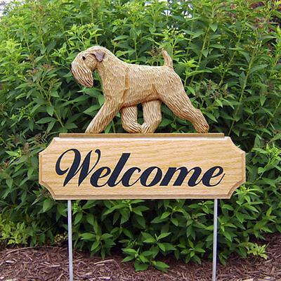 Soft Coated Wheaten Dog Breed Oak Wood Welcome Outdoor Yard Sign